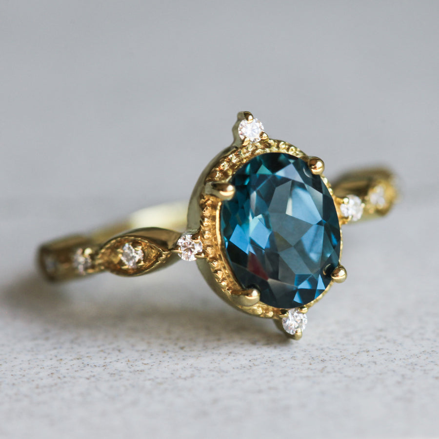 Amelia Oval Vintage Inspired London Blue Topaz Ring