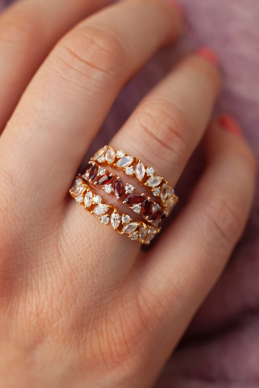 Yasmin Marquise Garnet Cluster Band with Moissanite