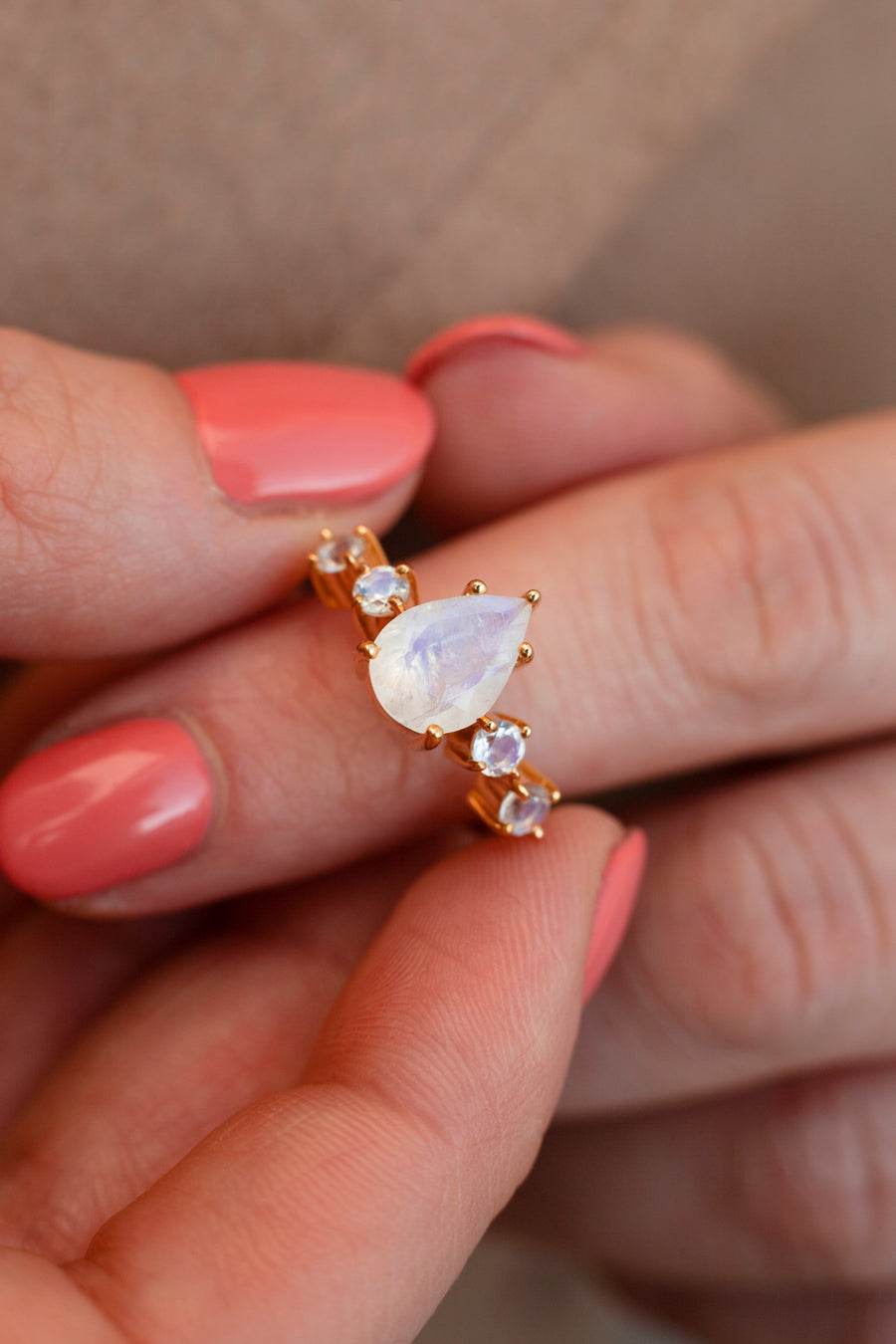 Apollonia Pear Moonstone Ring with Round Moonstones