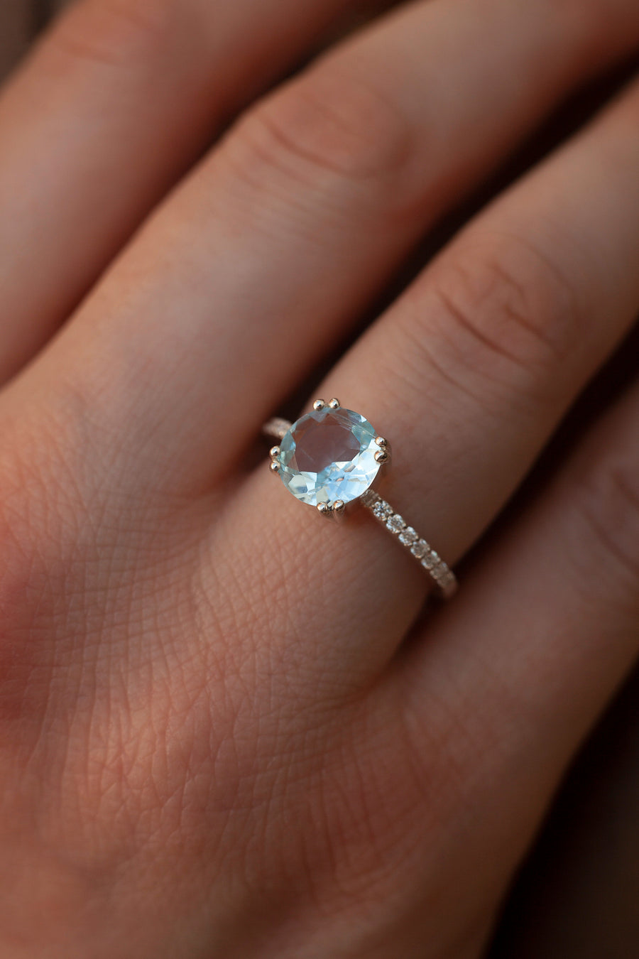 Corinne Sky Blue Topaz Solitaire Ring