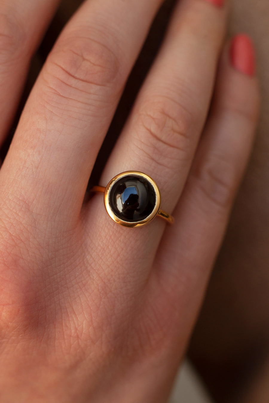 Juno Round Black Spinel Solitaire Ring