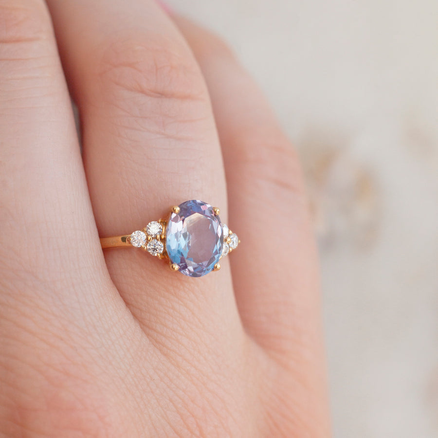 Olivia Lab Alexandrite Ring with side Moissanite