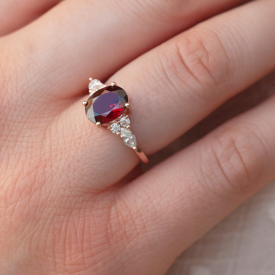 Lauryn Oval Garnet Ring with Moissanite