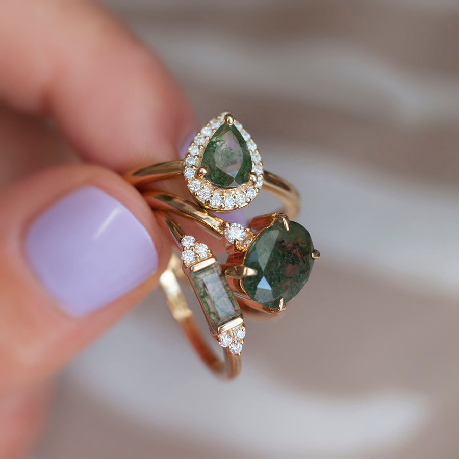 Tina Pear Moss Agate Ring with Halo Moissanites