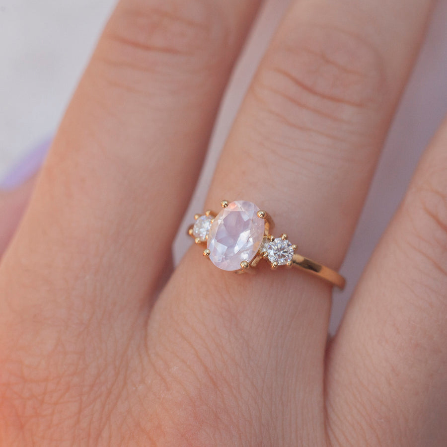 Khloe Oval Rose Quartz Ring with side Moissanite