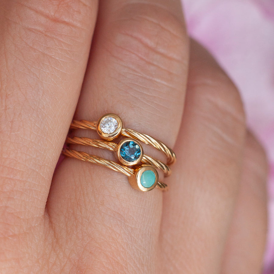 Rope Ring with solitaire Turquoise