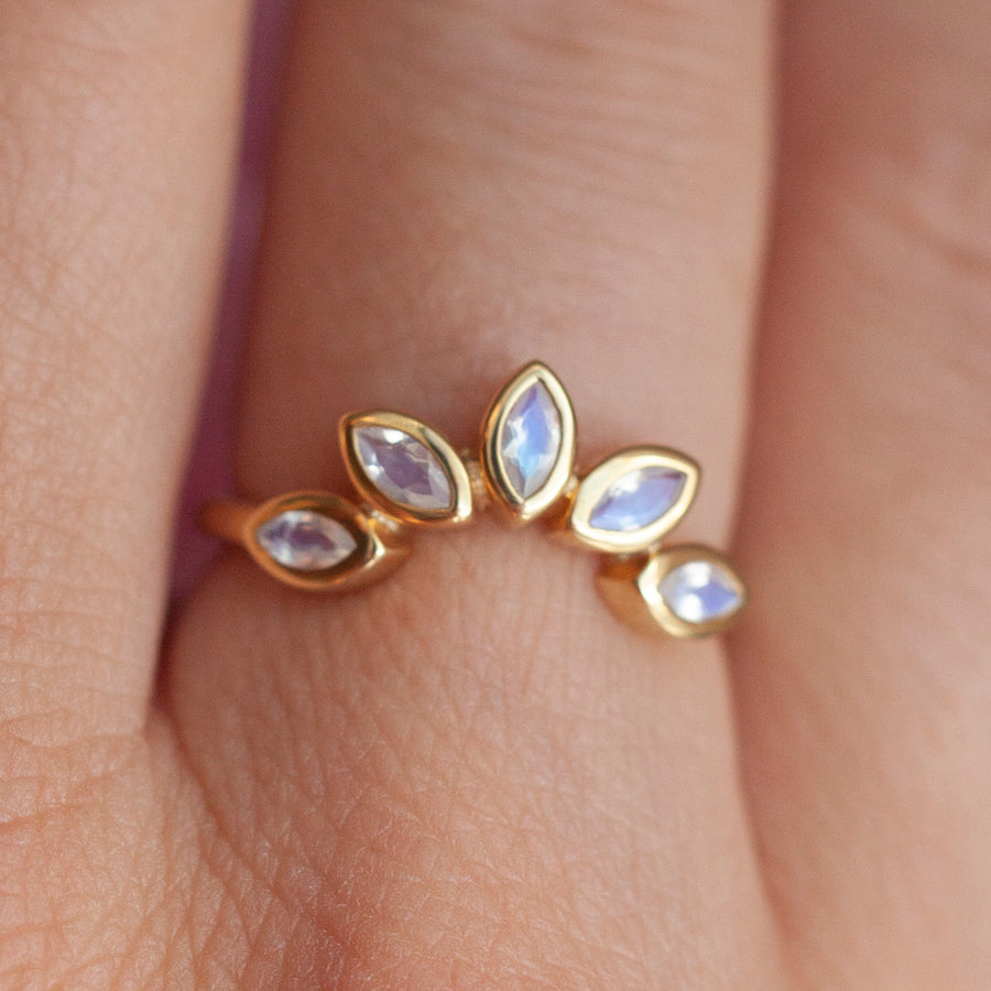 Eliza Stackable Marquise Moonstone Crown Ring