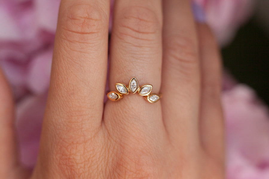 Eliza Stackable Marquise Moissanite Crown Ring