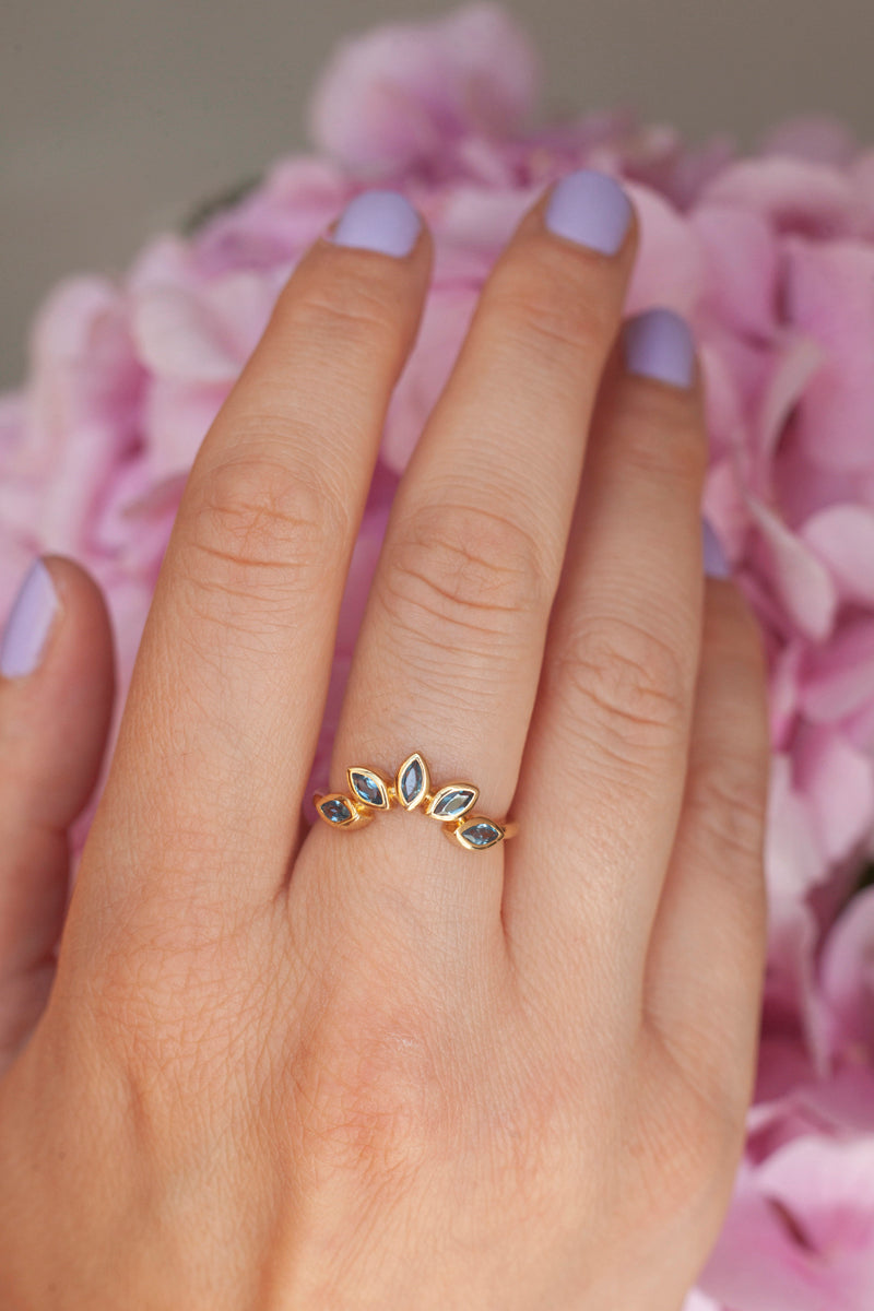 Eliza Stackable Marquise London Blue Topaz Ring