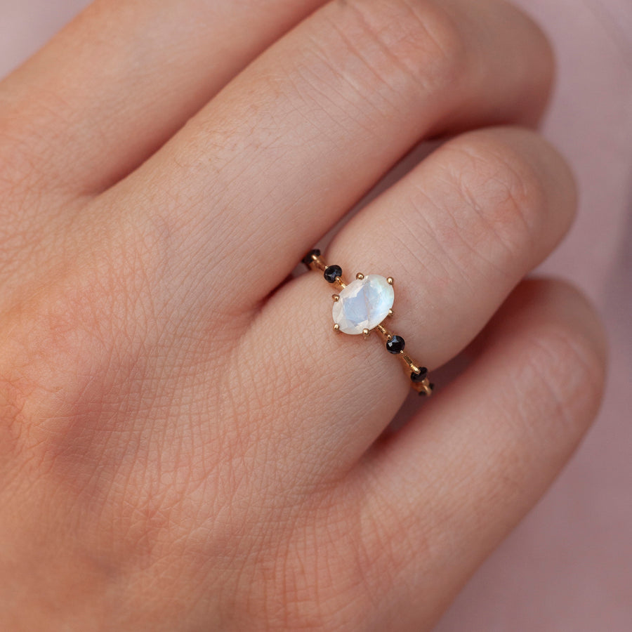 Ophelia Moonstone ring with Black Spinel
