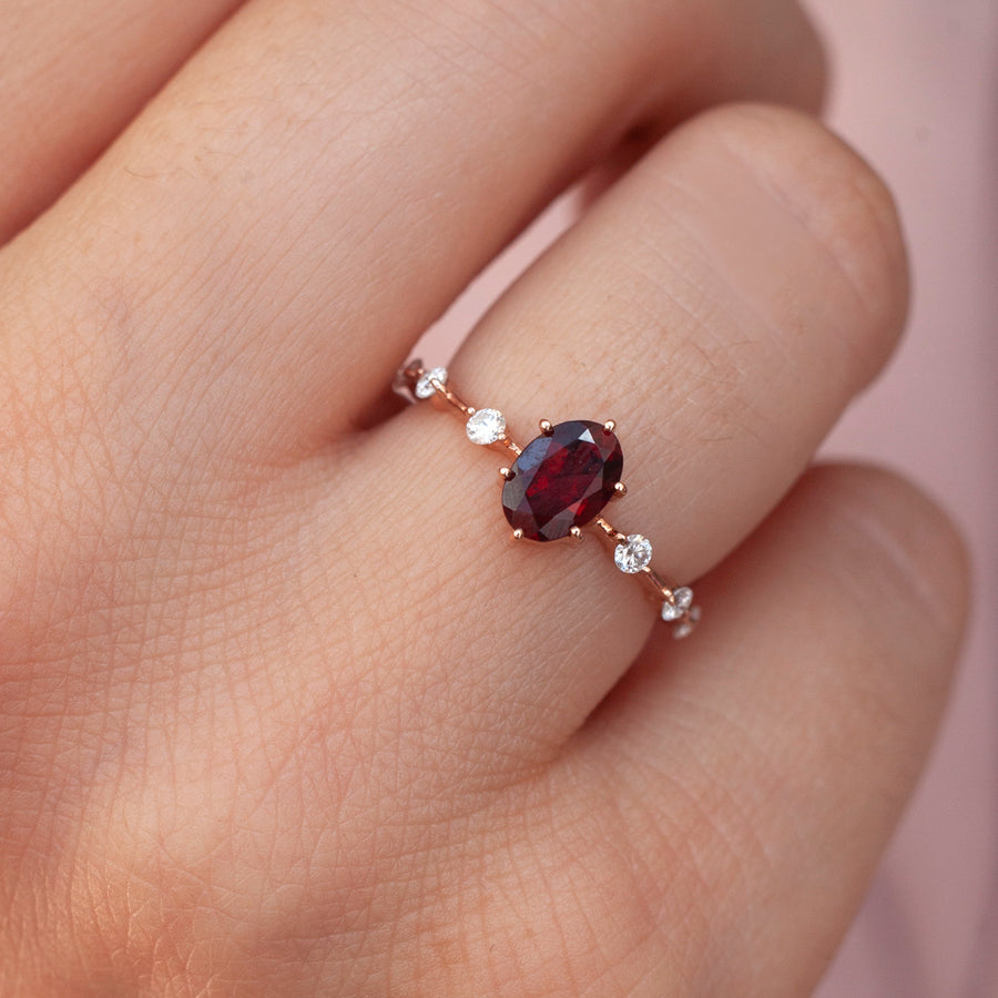 Ophelia Garnet Ring with Moissanite