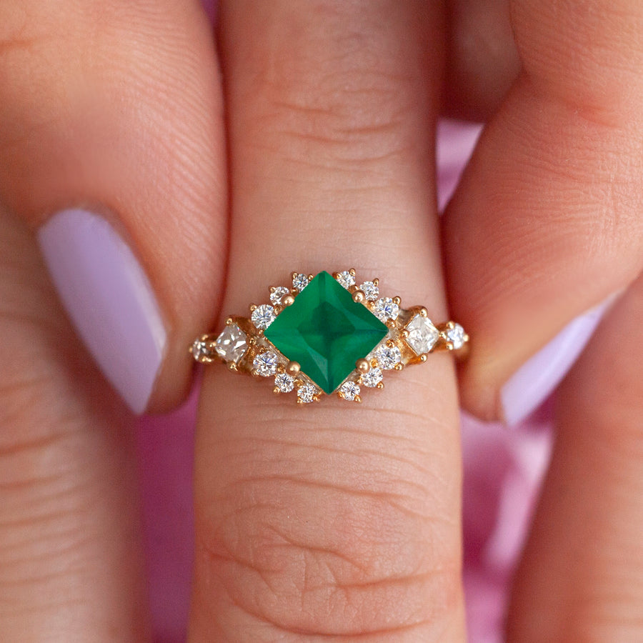 Chiara Green Onyx Cluster Ring