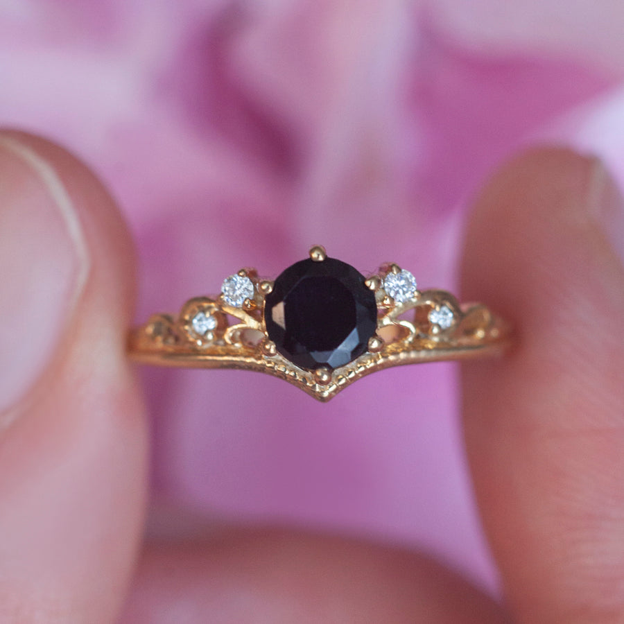 Lorna Vintage Solitaire Ring with Black Spinel