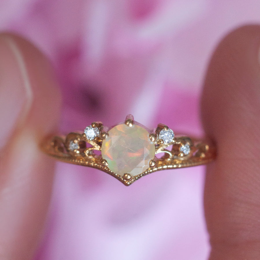 Lorna Vintage Solitaire Ring with Opal