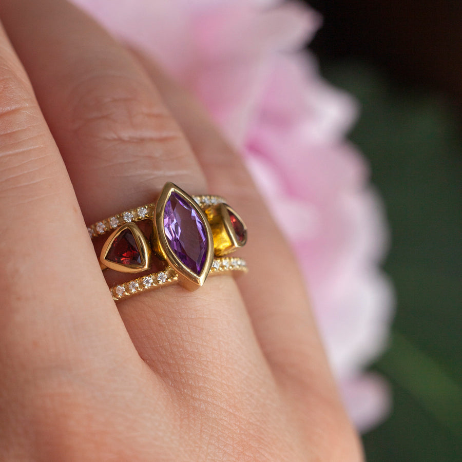 Silvia Double Band Amethyst Ring