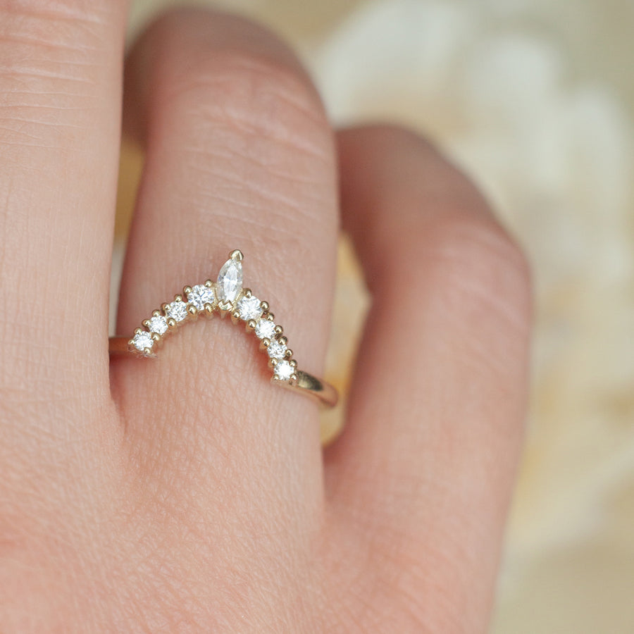 Liza Halo Moissanite Marquise Band