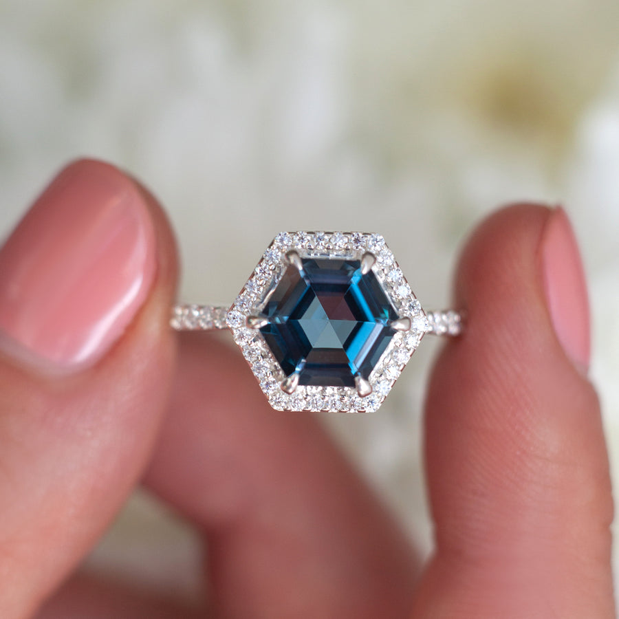 Audrey Hexagon London Blue Topaz Ring with Moissanite Halo