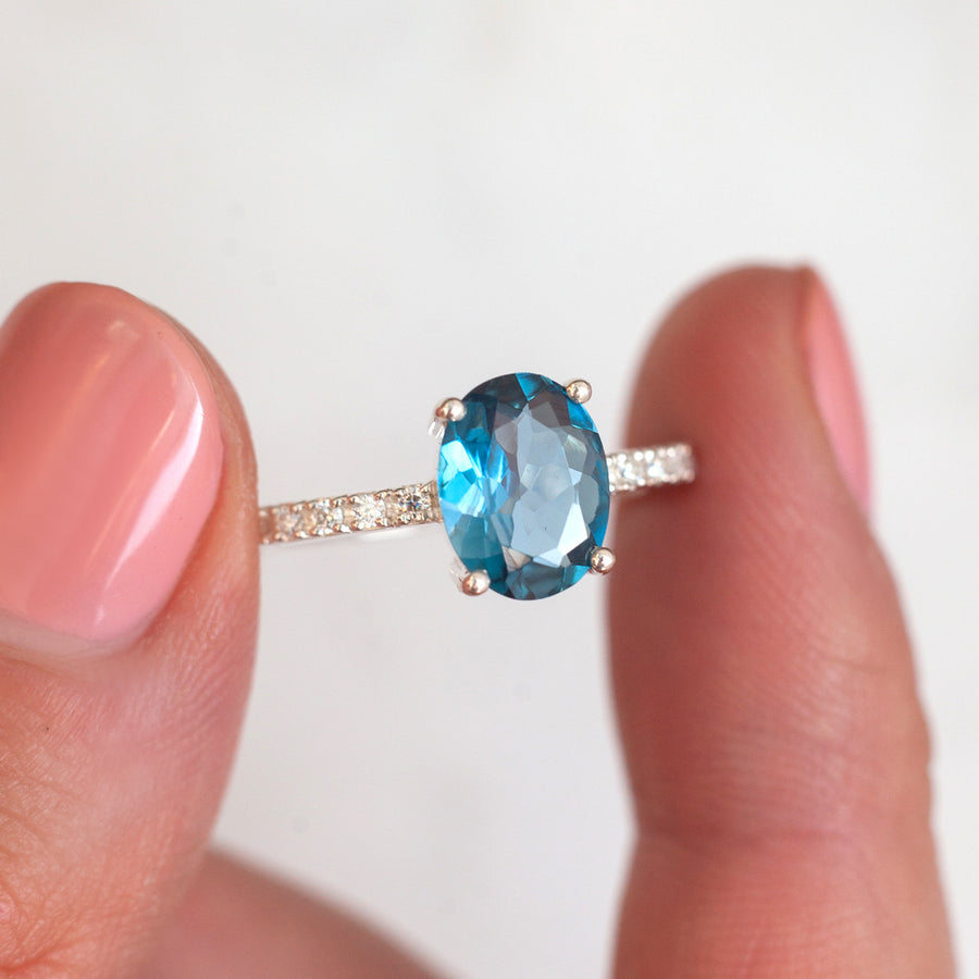Drew Oval London Blue Topaz Ring with Moissanites