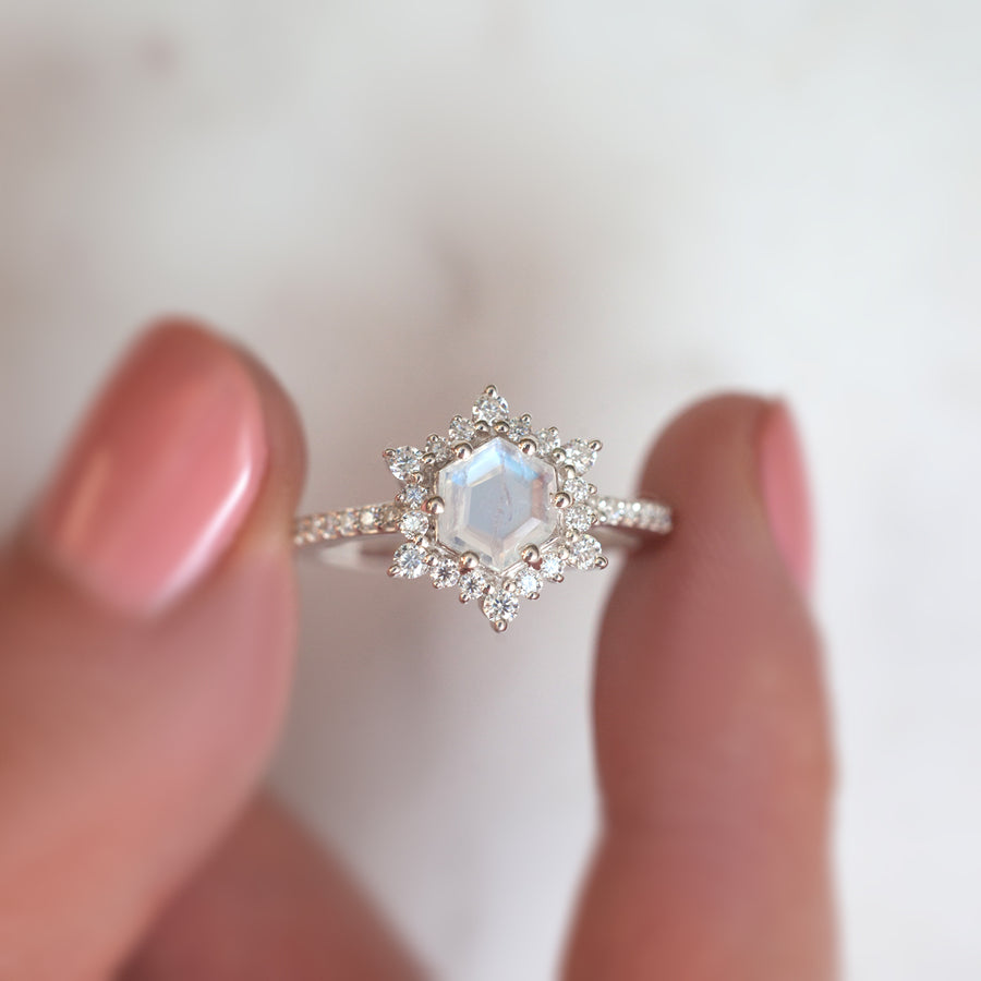 Cleo Hexagon Moonstone Ring with Moissanites