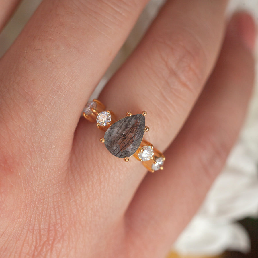 Apollonia Pear Black Rutile Quartz Ring with Round Moissanites