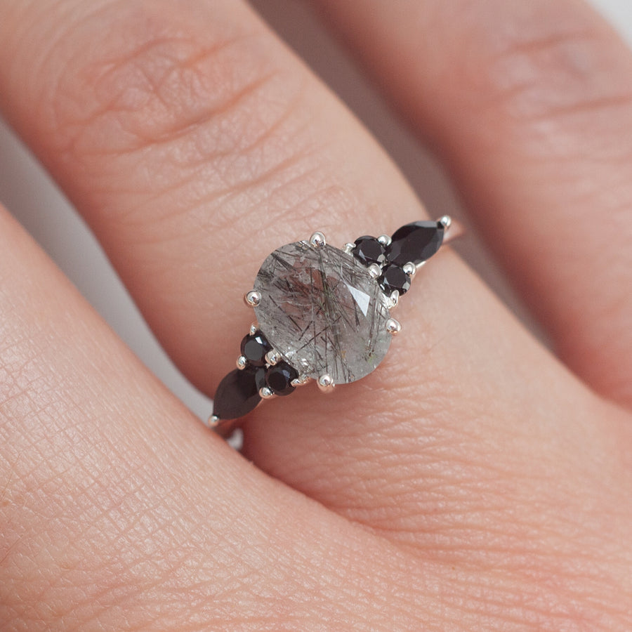 Lauryn Oval Black Rutile Quartz Ring with Black Spinel