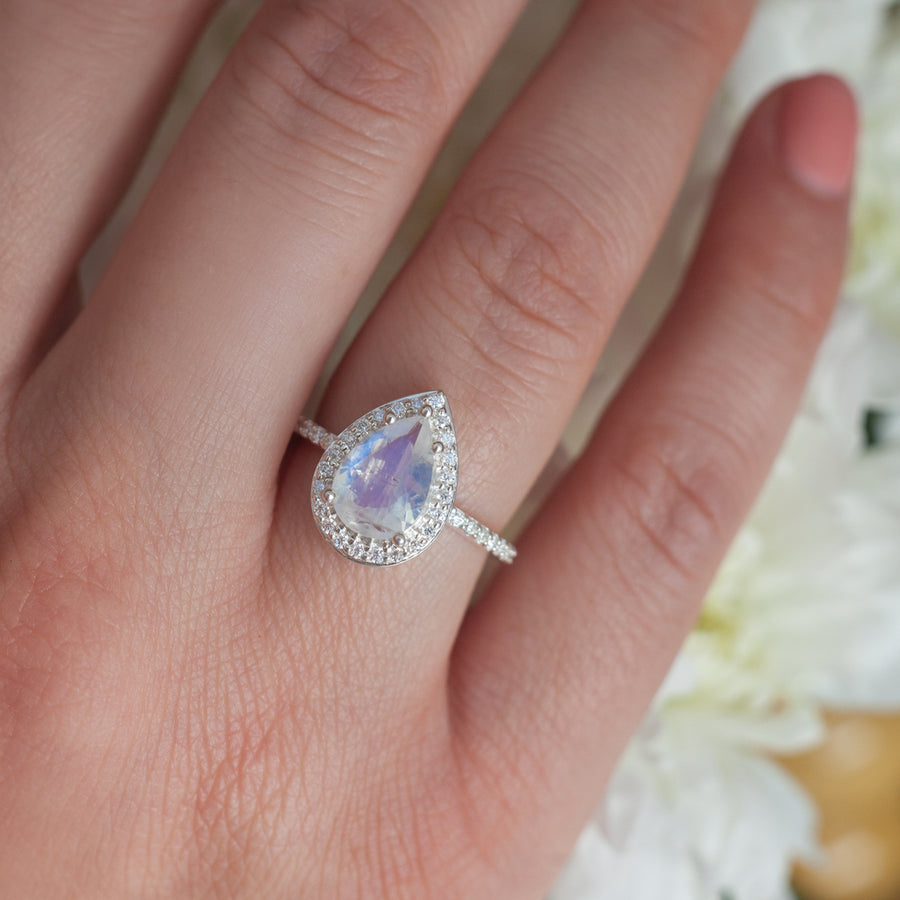 Britney Pear Moonstone Ring with Moissanite Pave Halo