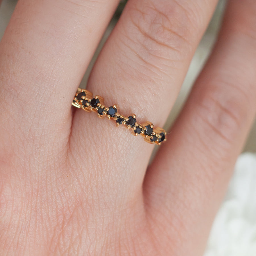 Ines Black Spinel Stacking Ring