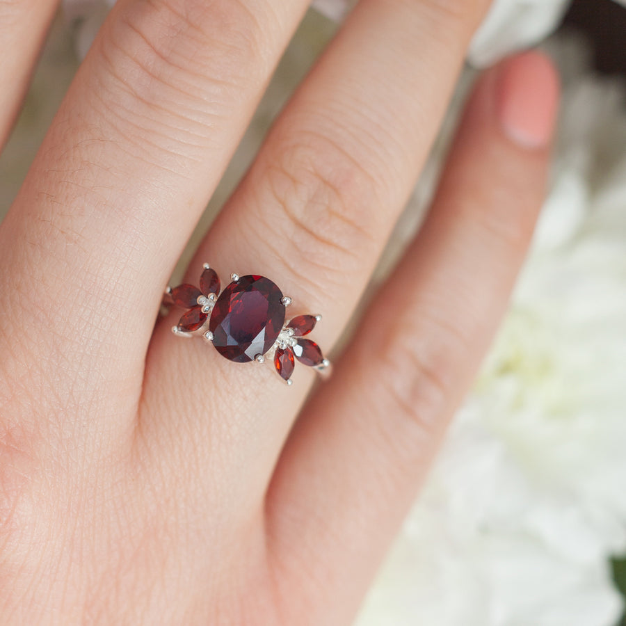 Meghan Oval Garnet Ring with Petal Side Garnet