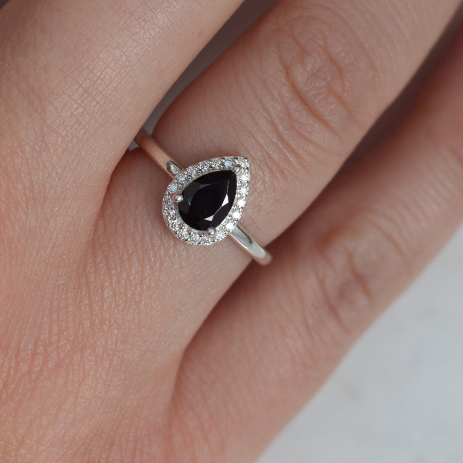 Tina Pear Black Spinel Ring with Halo Moissanites