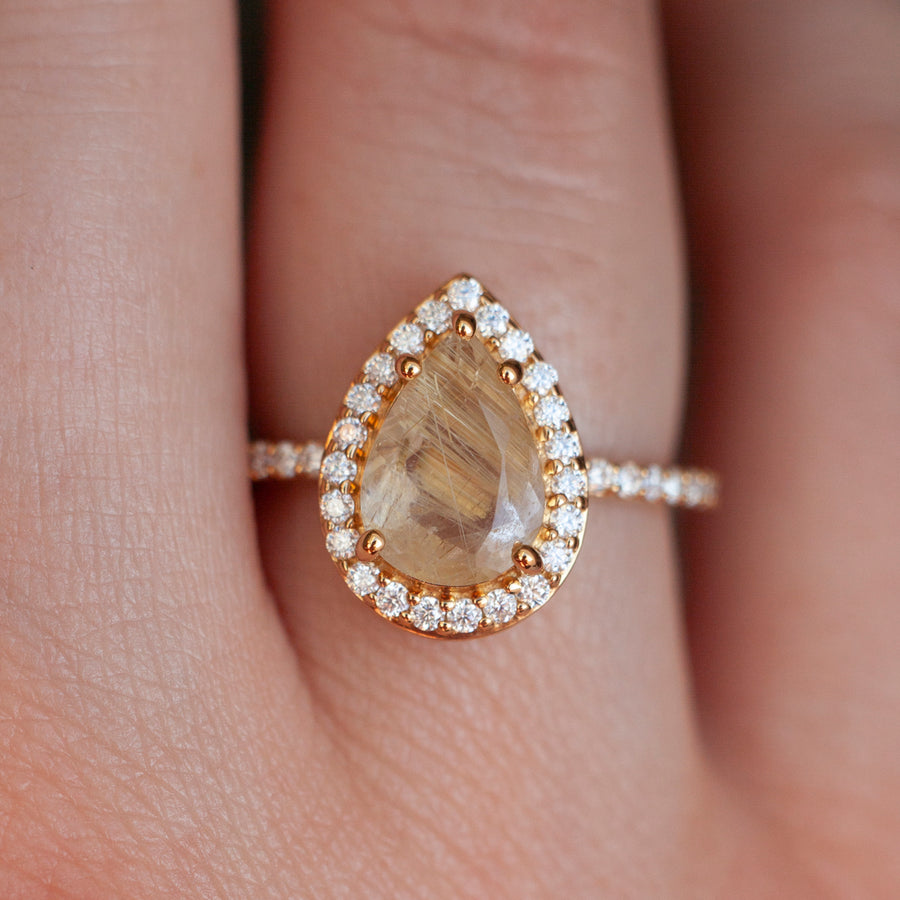 Britney Pear Golden Rutile Quartz with Moissanite Pave Halo