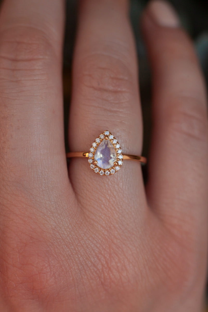 Tina Pear Moonstone Ring with Halo Moissanites
