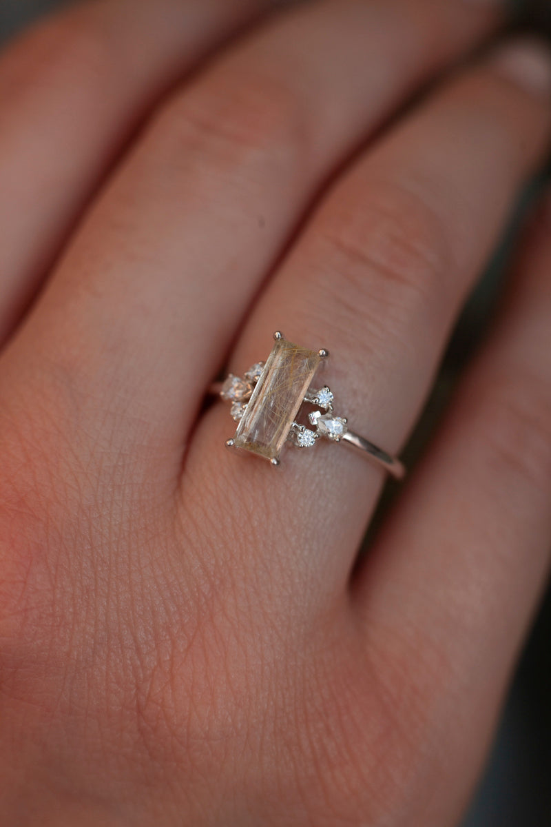 Sarah Golden Rutile Quartz Baguette Ring with side Moissanites