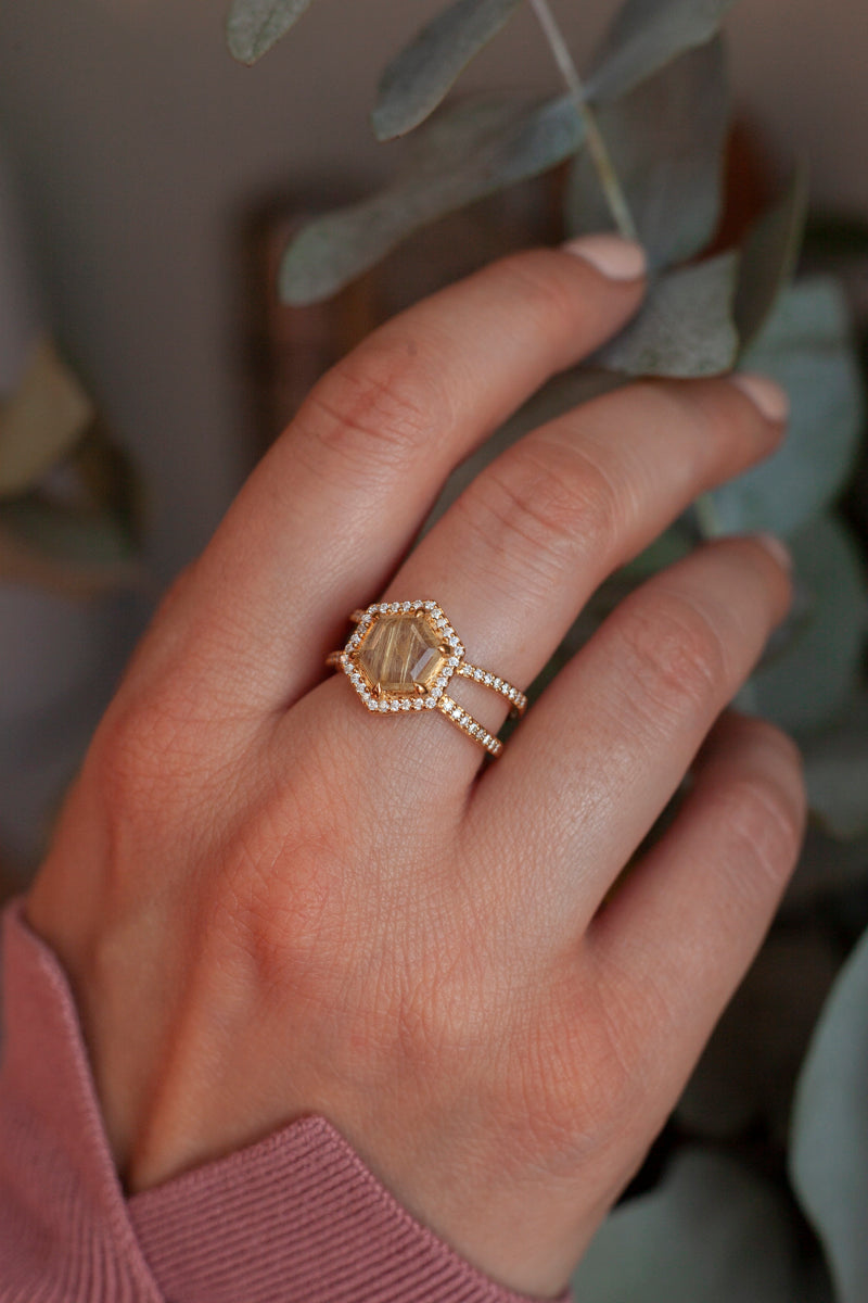 Serena Hexagon Golden Rutile Double Pave Band Ring