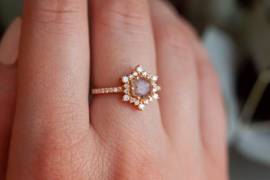 Cleo Golden Rutile Ring with Moissanites