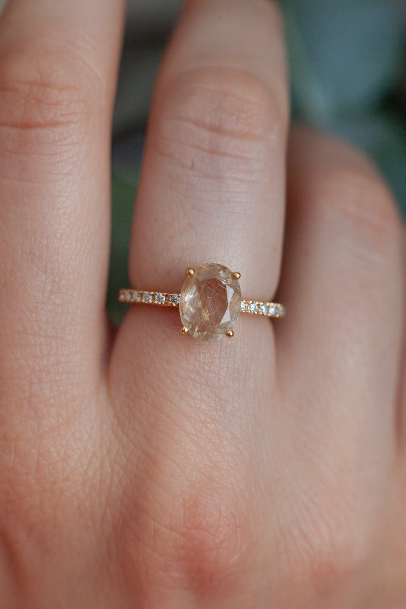 Drew Oval Golden Rutile Quartz Ring with Moissanites