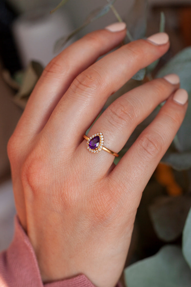 Tina Pear Amethyst Ring with Halo Moissanites