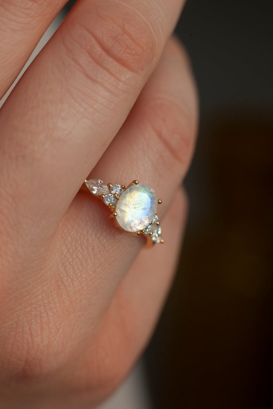 Lauryn Oval Moonstone Ring with Moissanite