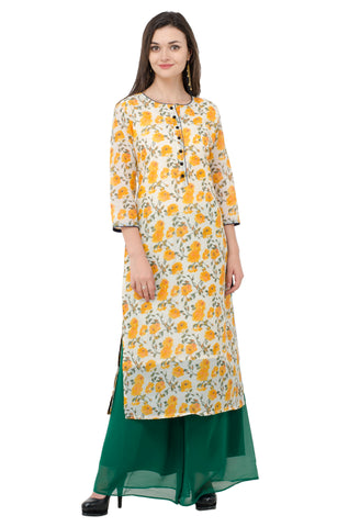 IndiWeaves Women Chanderi Silk Printed Yellow Kurti