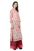 IndiWeaves Women Chanderi Silk Printed Pink Kurti