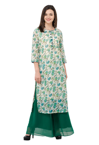IndiWeaves Women Chanderi Silk Printed Green Kurti