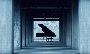 Piano at end of hall
