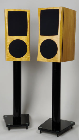 Pair of JansZen Carmelita stand mount electrostatic hybrid loudspeakers on stands