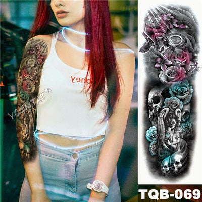 Large Arm Sleeve Temporary Waterproof Tattoo | Midnight Leopard  | Moonlight Rose | Full Skull - Designed By Jessica Croft