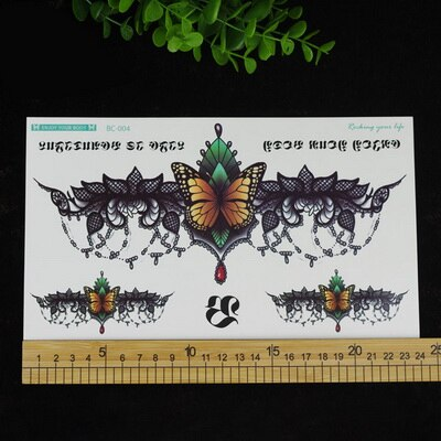 1PCS Chest Large 24*13.8CM Black Flower Sternum Temporary Tattoos | Under | Breast