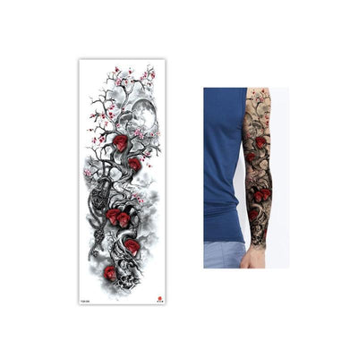 Full Flower Temporary Sleeve Tattoo  | Skull | Lion | Dragon | Various Designs Available - Designed By Skull Crusher