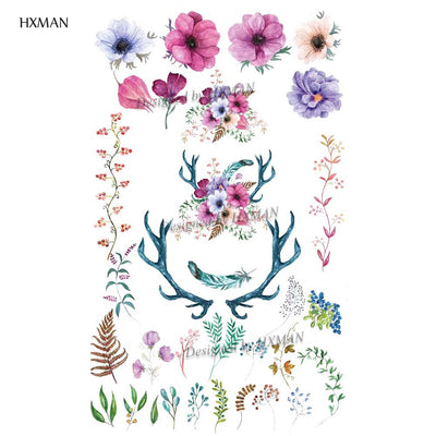 Flower Temporary Waterproof Tattoo | Fashion Women |  9.8X6CM - Designed By Grimjow Jack
