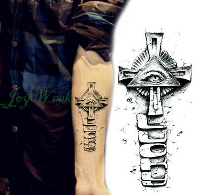 Waterproof Temporary Tattoo | Small Cross | Sun & Moon On Finger | Ear | Full Body | Various Designs - Designed By Grave Gunner