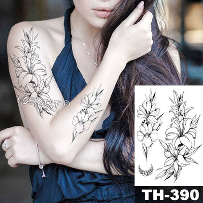Geometric Flower Rose | Eye Leaves | Waterproof Temporary Tattoo | Full Body Art  - Designed By Kraken