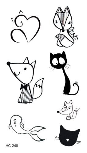 Classic Black Temporary Waterproof Tattoo | Cat | Bird | Full Body - Designed By Colt