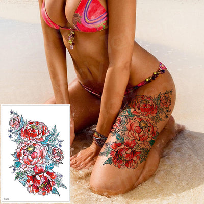 Temporary Waterproof Body Tattoo | Body Art Flower Rose | Various Designs - Designed By Kaito Sama